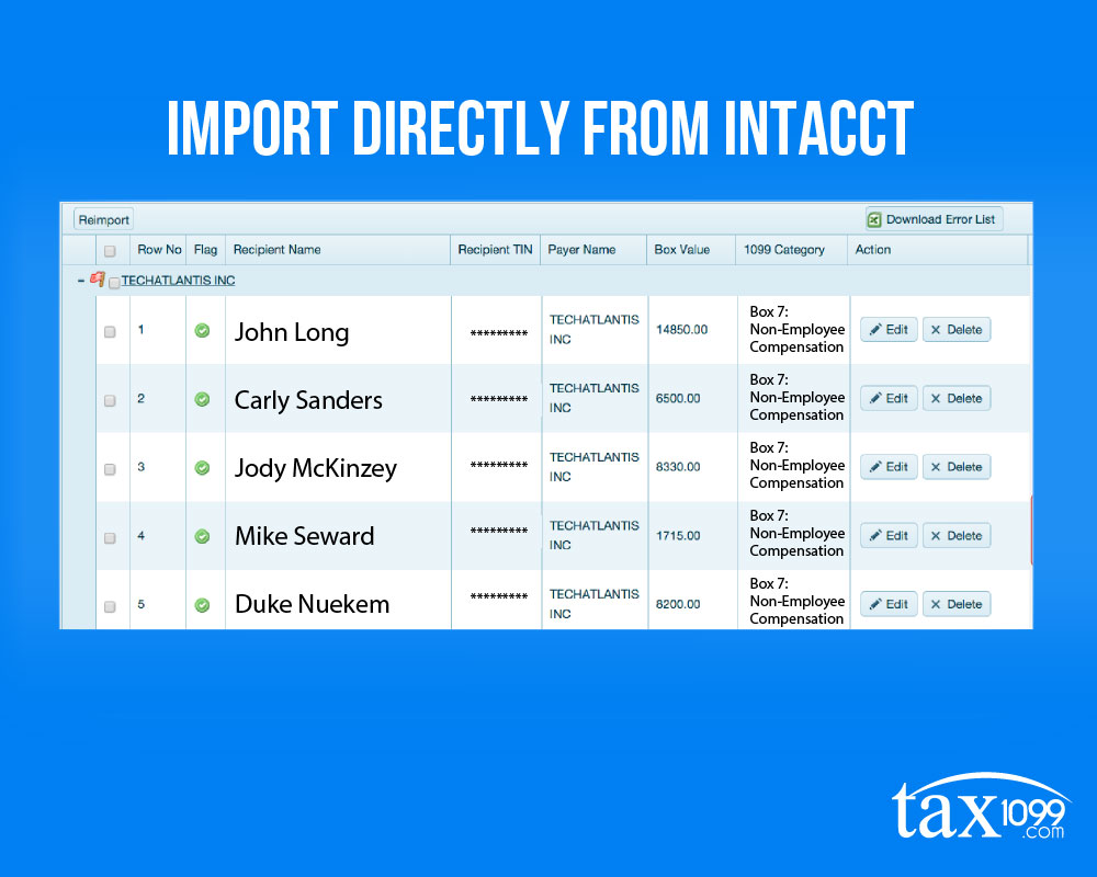 Import Directly From Intaccct